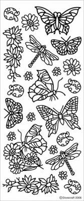 Dovecraft Peel Off Outline Sticker Gold Butterflies (DCPO39)