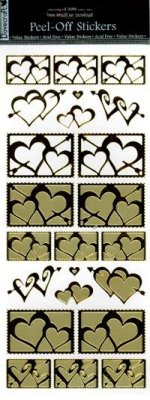 Dovecraft Peel Off Outline Sticker Gold Hearts