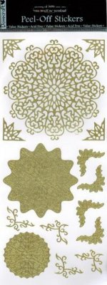 Dovecraft Peel Off Outline Sticker Gold 3d Medallions (DCPO65)