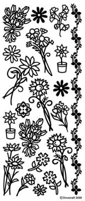 Dovecraft Peel Off Outline Sticker Silver Flowers (DCPO72)