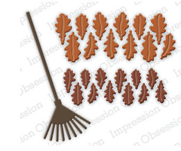 Impression Obsession Dies - Oak Leaves and Rake