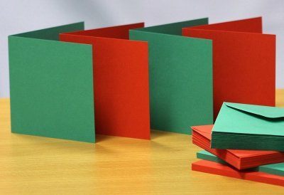 6x6 Red & Green Christmas Cards & Envelopes Pack (50 pack)