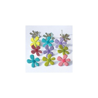 Eyelet Outlet Shape Brads - Stitched Flowers - Bright (12 pack)