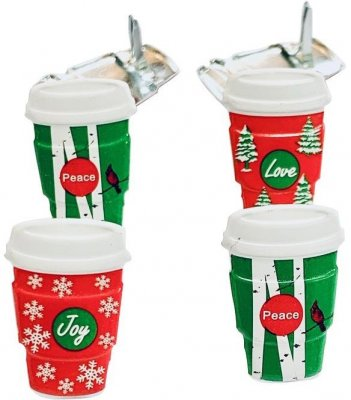 Eyelet Outlet Shape Brads - Holiday Coffee Cup (12 pack)