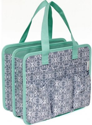 Everything Mary Makers Carry-All Tote - Gray & White Print with Mint Trim