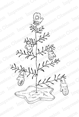 Impression Obsession Rubber Stamp - Mitten Tree