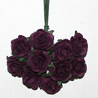 10st Paper Roses ca 15mm Tyrian Purple
