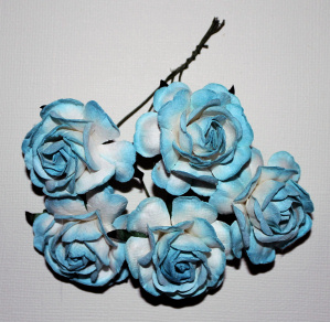 Roses 5st ca 40mm BLUE/WHITE