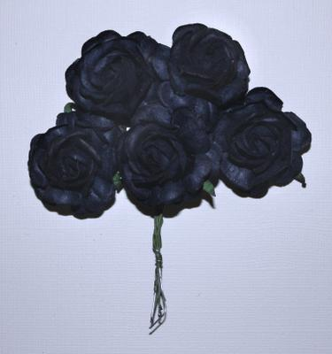 Roses 5st ca 40mm BLACK/DARK BLUE
