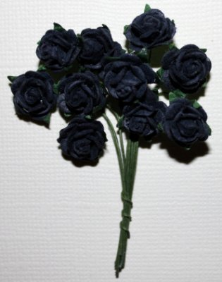 10st Small Paper Roses Navy Blue ca 1cm