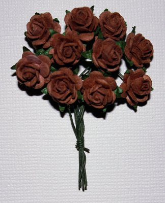 10st Small Paper Roses Coffee Brown ca 1cm