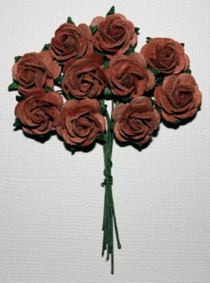 10st Small Paper Roses ca 10mm Burnt Umber
