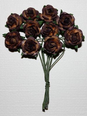 10st Small Paper Roses Chocolate Brown ca 1cm