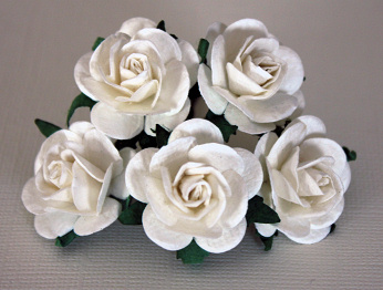 5st Mulberry Roses ca 25mm WHITE