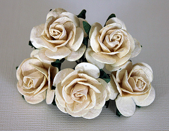 5st Mulberry Roses ca 25mm IVORY