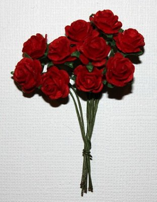 10st Small Paper Roses red ca 1cm
