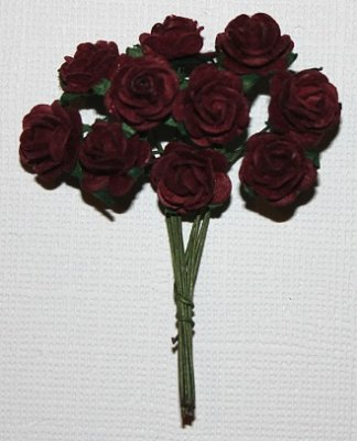 10st Small Paper Roses burgundy ca 1cm