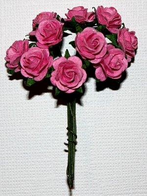 10st Small Paper Roses pink ca 1cm