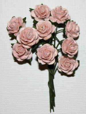 10st Small Paper Roses pale pink ca 1cm