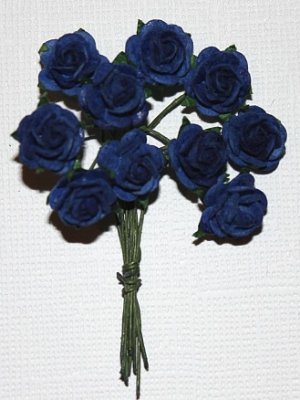 10st Small Paper Roses royal blue ca 1cm