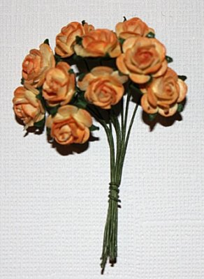 10st Small Paper Roses 2tone orange yellow ca 1cm