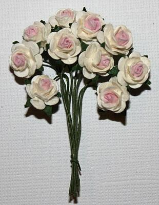 10st Small Paper Roses 2tone light pink white ca 1cm