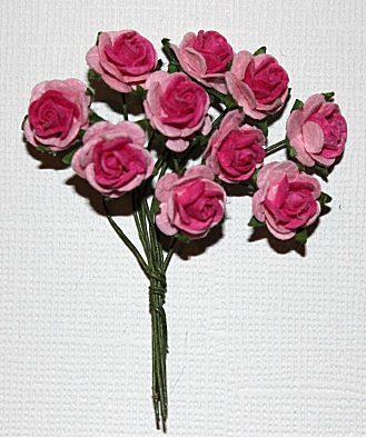 10st Small Paper Roses 2tone light pink pink ca 1cm