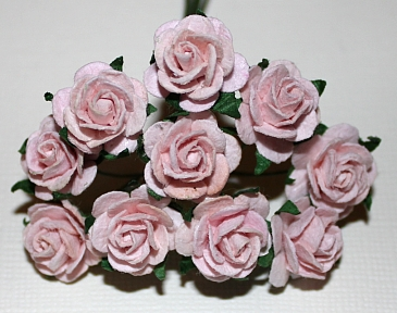 10st Paper Roses ca 15mm pale pink