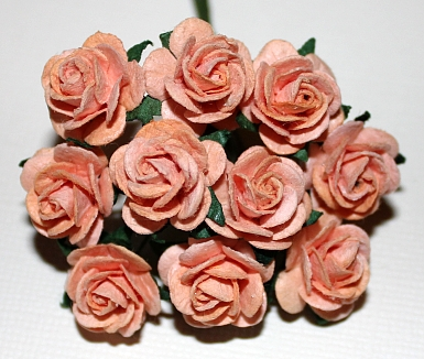 10st Paper Roses ca 15mm peach