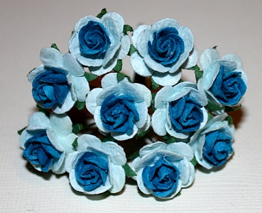 10st Paper Roses ca 15mm 2tone dark blue light blue