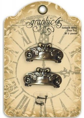 Graphic 45 Staples Ornate Metal Door Pulls - Antique Brass with 4 Brads (2 pack)