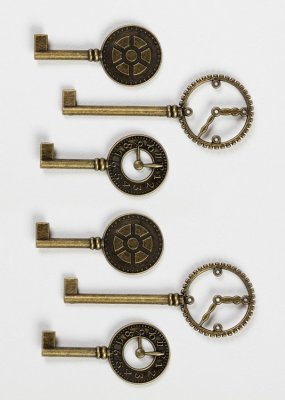 Graphic 45 Staples Metal Clock Keys - Antique Brass (6 pack)
