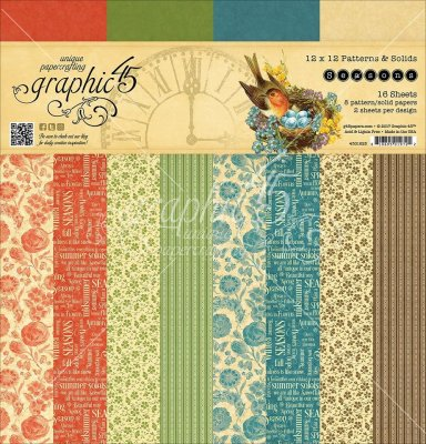 "Graphic 45 - 12""x12"" Seasons Patterns & Solids Paper Pad (16 sheets)"