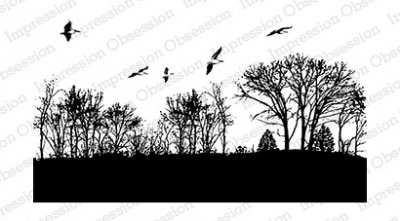 Impression Obsession Rubber Stamp - Trees with Birds