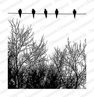 Impression Obsession Rubber Stamp - Birds on Wire