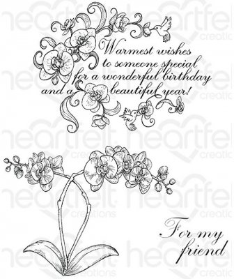 Heartfelt Creations - Botanic Orchid Wishes Pre-Cut Cling Mounted Stamp Set (3 stamps)