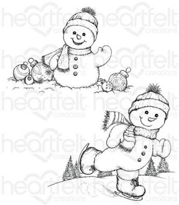 Heartfelt Creations - Frolicking Frosty Pre-Cut Cling Mounted Stamp Set