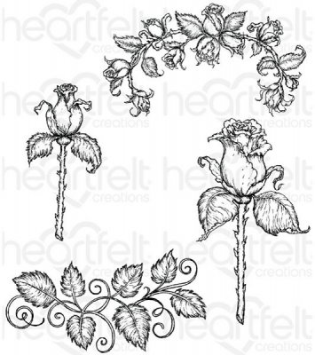 Heartfelt Creations - Blushing Rose Stem Pre-Cut Cling Mounted Stamp Set (4 stamps)
