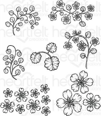 Heartfelt Creations - Wildwood Florals Pre-Cut Cling Mounted Stamp Set