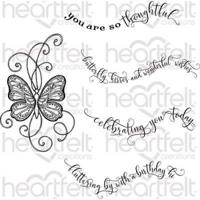 Heartfelt Creations - Butterfly Kisses Pre-Cut Cling Mounted Stamp Set (5 stamps)