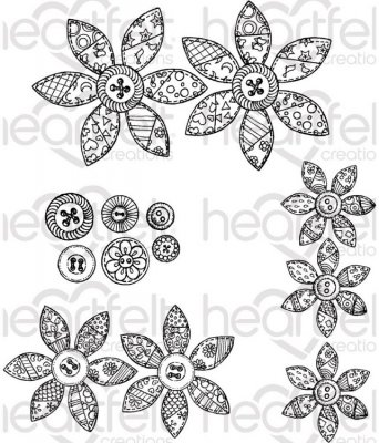 Heartfelt Creations - Buttons & Blooms Pre-Cut Cling Mounted Stamp Set (4 stamps)