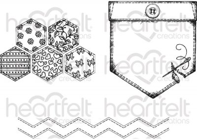 Heartfelt Creations - Patchwork Pocket & Patterns Pre-Cut Cling Mounted Stamp Set (3 stamps)