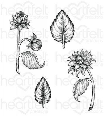 Heartfelt Creations Cling Rubber Stamp Set - Dahlia & Leaves