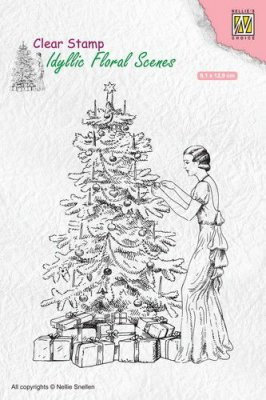 Nellies Choice Clear Stamps - Idyllic Floral Scenes Vintage Christmas