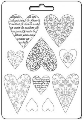 Stamperia A4 Soft Mould - Textured Hearts