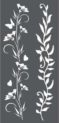 Stamperia 12x25cm Thick Stencil - Borders Flowers and leaves