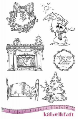 Katzelkraft Rubber Stamps - A Very Merry Christmas