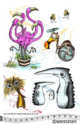 Katzelkraft Rubber Stamps - The JAB Collection Flamingos and Friends