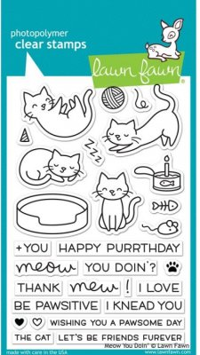 Lawn Fawn Clear Stamp Set - Meow You Doin'