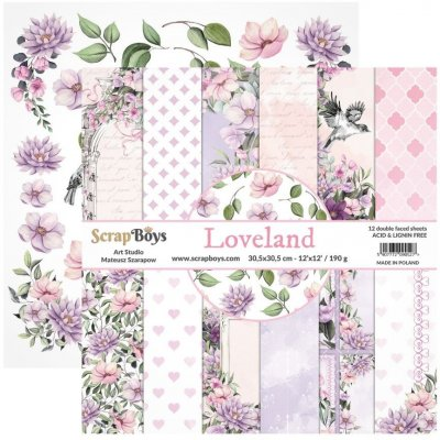 "ScrapBoys 12""x12"" Paper Set - Loveland (12 sheets+cut out elements)"